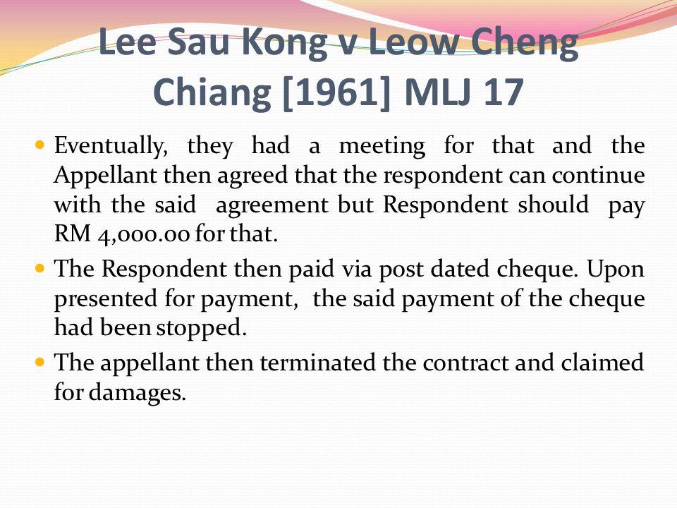 Lee Sau Kong v Leow Cheng Chiang [1961] MLJ 17